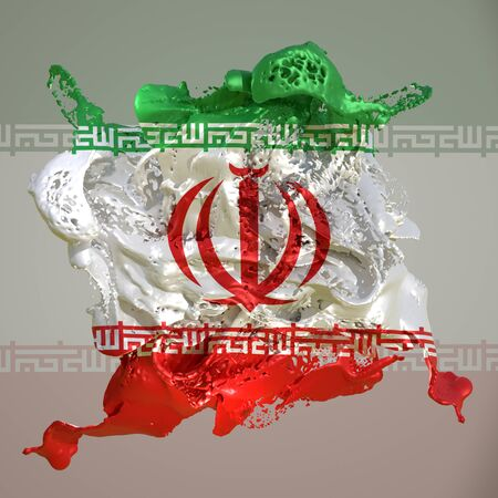 3d rendering of an Iran country flag in a liquid fluid.