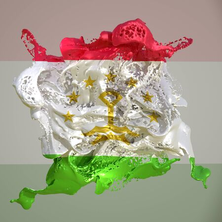 3d rendering of a Tajikistan country flag in a liquid fluid.