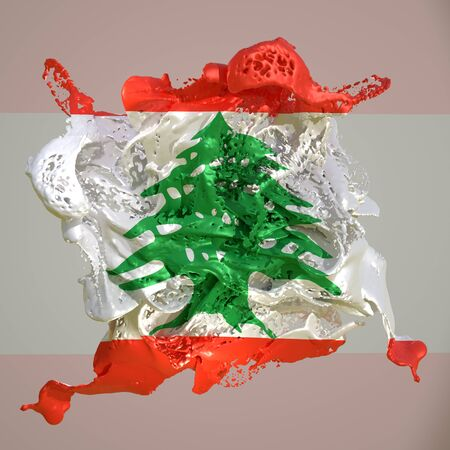 3d rendering of a Lebanon country flag in a liquid fluid.