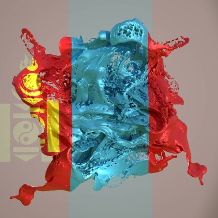 3d rendering of a Mongolia country flag in a liquid fluid.