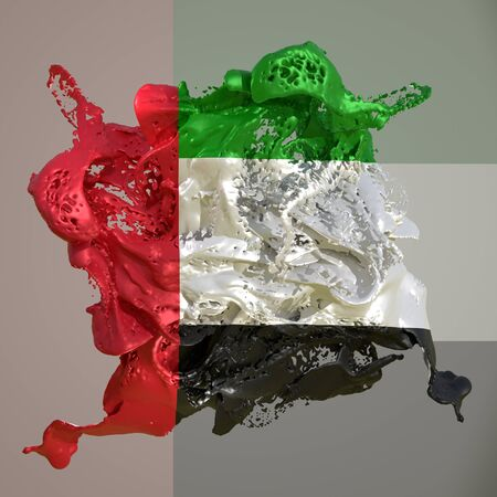 3d rendering of an United Arab Emirates country flag in a liquid fluid.