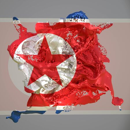 3d rendering of a North Korea country flag in a liquid fluid.