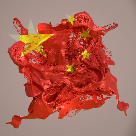 3d rendering of a China country flag in a liquid fluid.