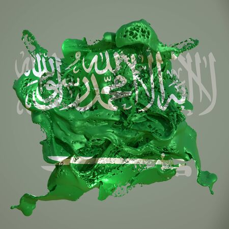 3d rendering of a Saudi Arabia country flag in a liquid fluid.