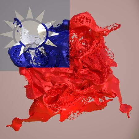 3d rendering of a Taiwan country flag in a liquid fluid.