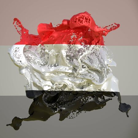 3d rendering of a Yemen country flag in a liquid fluid.