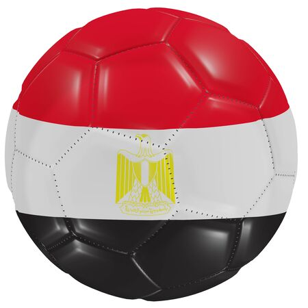 3d rendering of an Egypt flag on a soccer ball. Isolated in white background Imagens