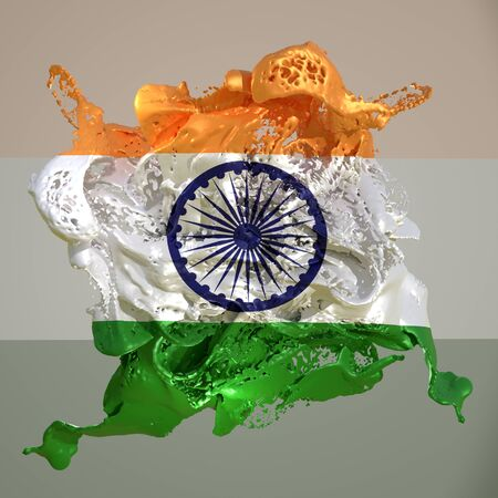 3d rendering of an India country flag in a liquid fluid. Stock fotó
