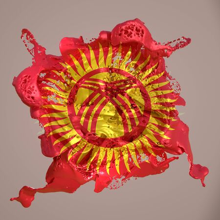3d rendering of a Kyrgyzstan country flag in a liquid fluid. Stock fotó