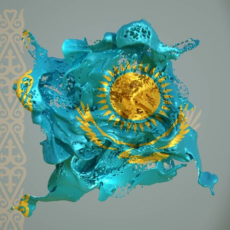 3d rendering of a Kazakhstan country flag in a liquid fluid. Stock fotó