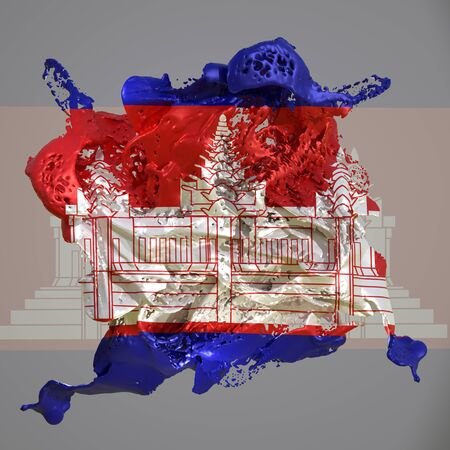 3d rendering of a Cambodia country flag in a liquid fluid. Stock fotó