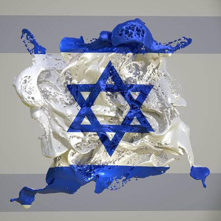 3d rendering of an Israel country flag in a liquid fluid.