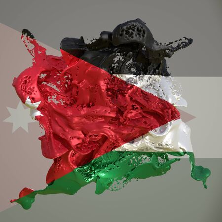 3d rendering of a Jordan country flag in a liquid fluid. Stock fotó
