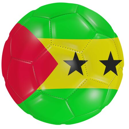 3d rendering of a Sao Tome and Principe flag on a soccer ball. Isolated in white background