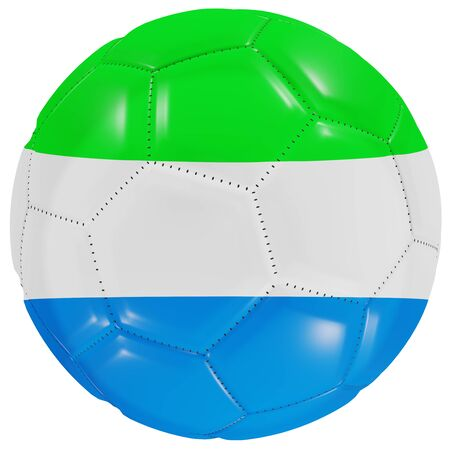 3d rendering of a Sierra Leone flag on a soccer ball. Isolated in white background 写真素材