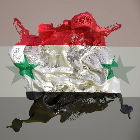 3d rendering of a Syria country flag in a liquid fluid.