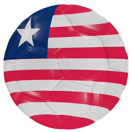 3d rendering of a Liberia flag on a soccer ball. Isolated in white background