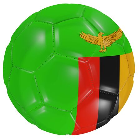 3d rendering of a Zambia flag on a soccer ball. Isolated in white background