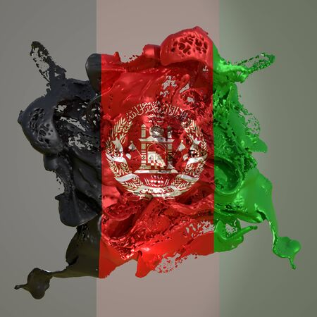 3d rendering of an Afghanistan country flag in a liquid fluid.