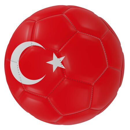 3d rendering of a Turkey flag on a soccer ball. Isolated in white background