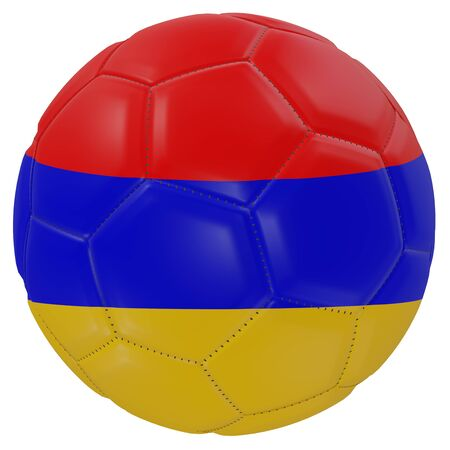 3d rendering of an Armenia flag on a soccer ball. Isolated in white background Stock Photo