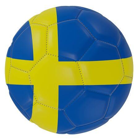 3d rendering of a Sweden flag on a soccer ball. Isolated in white background