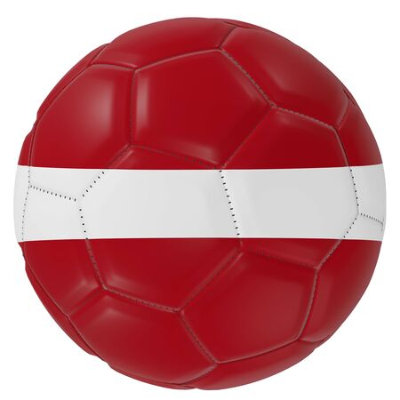 3d rendering of a Latvia flag on a soccer ball. Isolated in white background 版權商用圖片