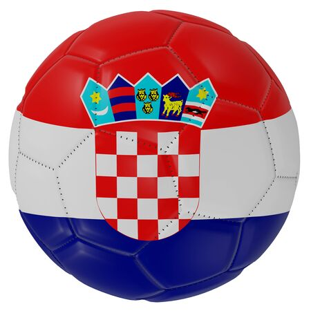 3d rendering of a Croatia flag on a soccer ball. Isolated in white background