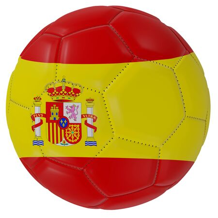 3d rendering of a Spain flag on a soccer ball. Isolated in white background