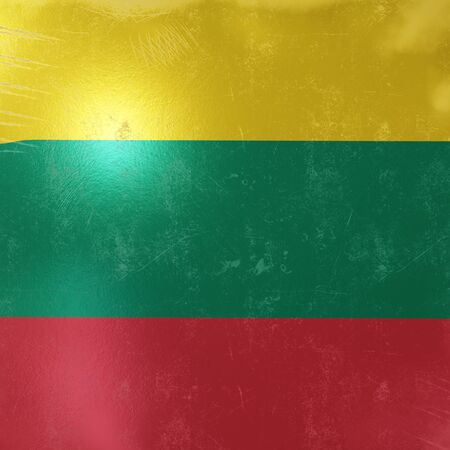 3d rendering of a rusty and old Lithuania flag on a metallic surface.