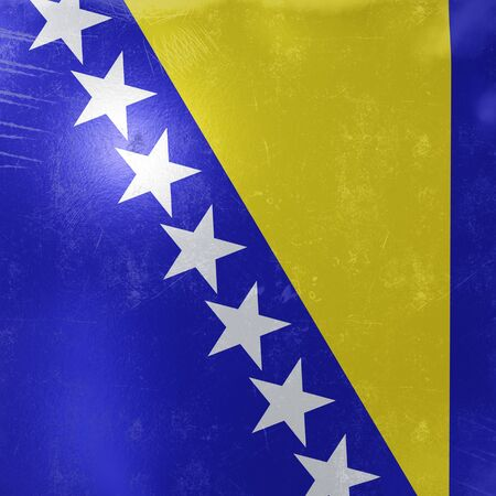 3d rendering of a rusty and old Bosnia and Herzegovina flag on a metallic surface.