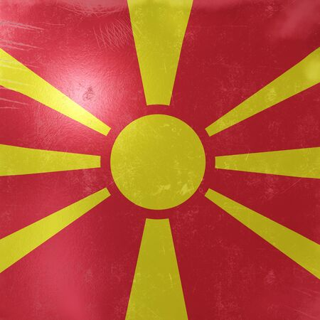 3d rendering of a rusty and old Macedonia flag on a metallic surface.