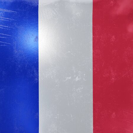 3d rendering of a rusty and old France flag on a metallic surface.