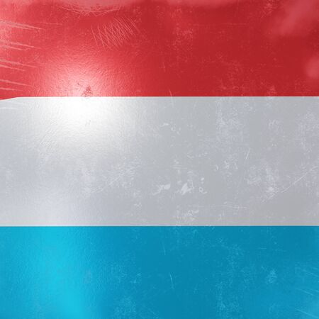 3d rendering of a rusty and old Luxembourg flag on a metallic surface. Stockfoto