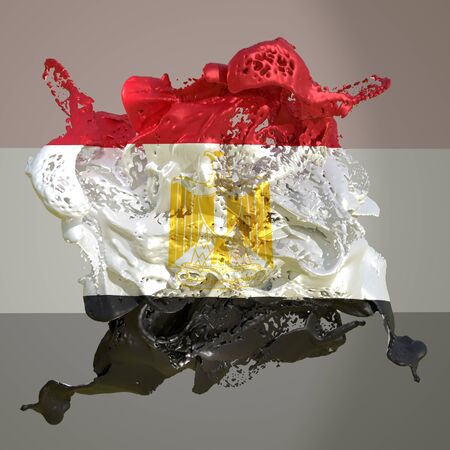 3d rendering of an Egypt country flag in a liquid fluid. Stockfoto