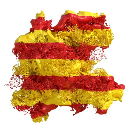 3d rendering of a Catalonia spanish Community flag in a liquid fluid. Isolated on white background