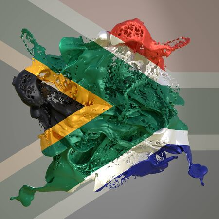 3d rendering of a South Africa country flag in a liquid fluid.