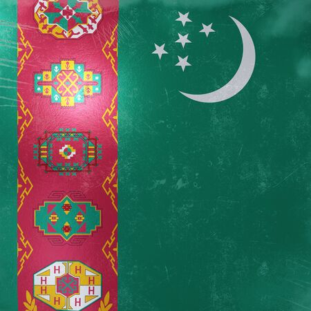 3d rendering of a rusty and old Turkmenistan flag on a metallic surface. Stock Photo