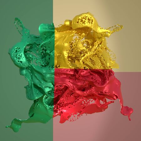 3d rendering of a Benin country flag in a liquid fluid.
