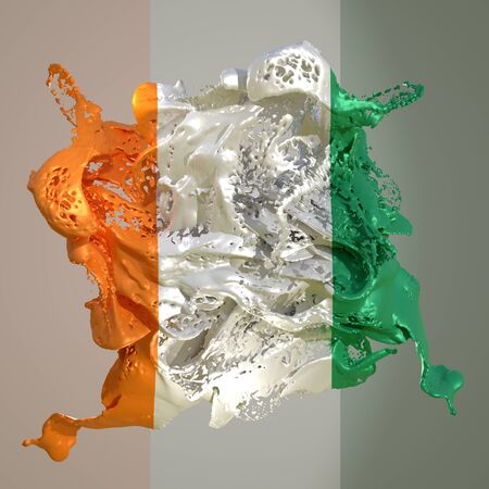3d rendering of an Ivory Coast country flag in a liquid fluid.