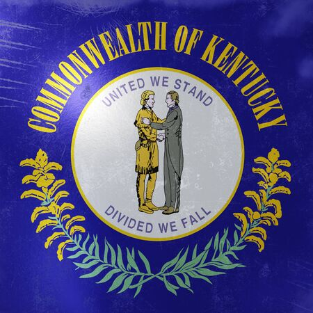 3d rendering of a rusty and old Kentucky State flag on a metallic surface.  版權商用圖片