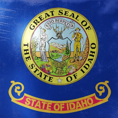 3d rendering of a rusty and old Idaho State flag on a metallic surface.