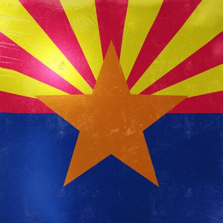 3d rendering of a rusty and old Arizona State flag on a metallic surface.