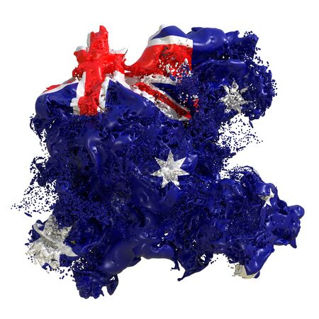 3d rendering of an Australia country flag in a liquid fluid. Isolated on white background