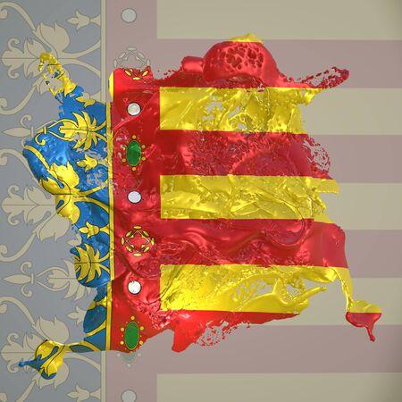 3d rendering of a Valencia spanish Community flag in a liquid fluid. Stockfoto