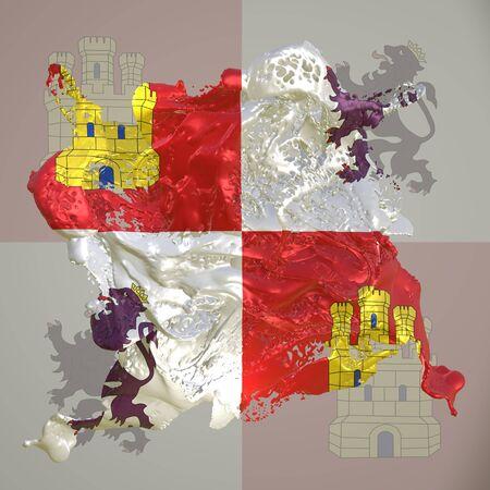 3d rendering of a Castilla Leon spanish Community flag in a liquid fluid