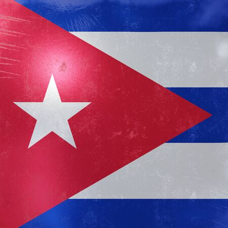 3d rendering of a rusty and old Cuba flag on a metallic surface.  写真素材
