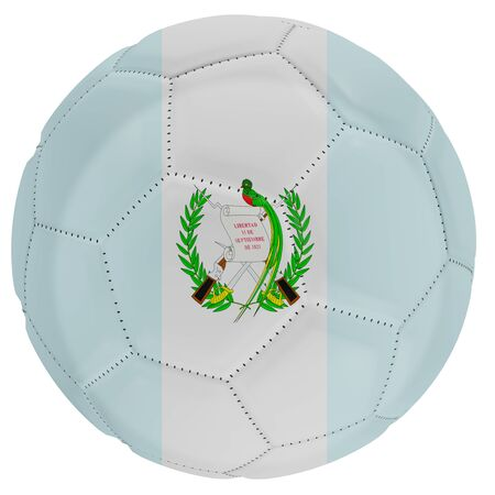 3d rendering of a Guatemala flag on a soccer ball. Isolated in white background
