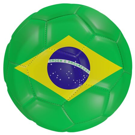 3d rendering of a Brazil flag on a soccer ball. Isolated in white background