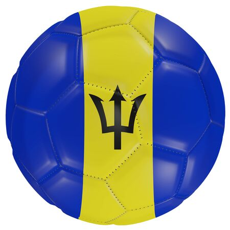 3d rendering of a Barbados flag on a soccer ball. Isolated in white background